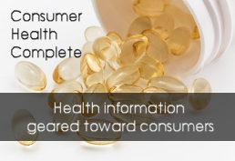 Clear gel pills spilling out of bottle representing Consumer Health Complete database