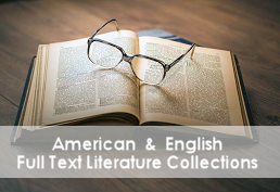 Open book with reading glasses representing American & English Literature database
