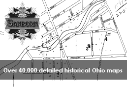 Black and white historical map representing Sanborn Fire Insurance Maps database