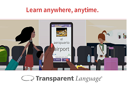 Cartoon of airport waiting area representing Transparent Languages database