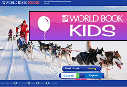 Husky dogs pulling snow sled representing World Book for Kids database